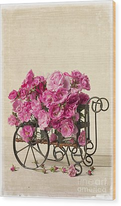 Antique Rose Cart Wood Print by Edward Fielding