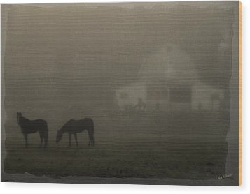 Antique Scene Of Horses In A Fog Wood Print by Mick Anderson