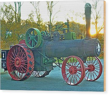 Antique Steam Tractor Wood Print
