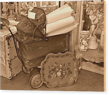 Antique Still Life With Baby Carriage And Other Objects In Sepia Wood Print by Valerie Garner