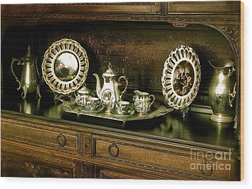 Antique Tea Set Wood Print by The Art of Alice Terrill
