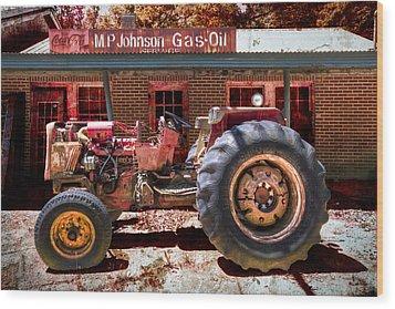 Antique Tractor Wood Print by Debra and Dave Vanderlaan