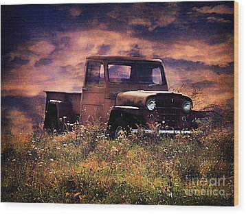 Antique Truck Wood Print by Darren Fisher