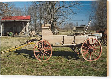 Antique Wagon And Mountain Cabin 1 Wood Print by Douglas Barnett