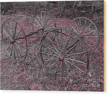Wood Print featuring the photograph Antique Wagon Wheels by Sherman Perry