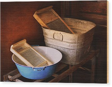 Antique Wash Tubs Wood Print by Maria Angelica Maira