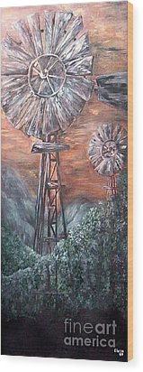 Antique Windmills At Dusk Wood Print by Eloise Schneider
