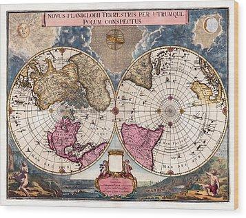 Wood Print featuring the photograph Antique World Map 1695 Novus Planiglobii Terrestris Per Utrumque Polum Conspectus by Karon Melillo DeVega
