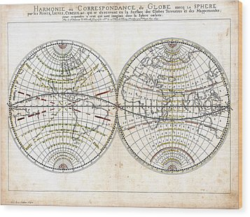 Antique World Map Harmonie Ou Correspondance Du Globe 1659 Wood Print by Karon Melillo DeVega