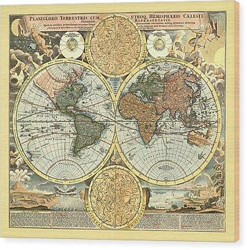Antique World Mercator Map Wood Print by Gary Grayson