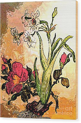 Antiqued Floral Watercolor Painting Wood Print