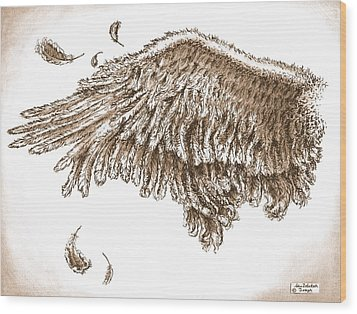 Antiqued Wing Wood Print by Adam Zebediah Joseph