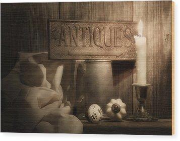Antiques Still Life Wood Print by Tom Mc Nemar