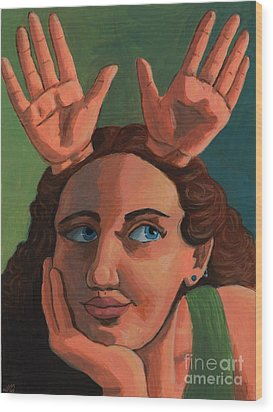 Antlered Girl Wood Print by Whitney Morton