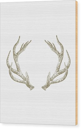 Antlers Wood Print by Randoms Print