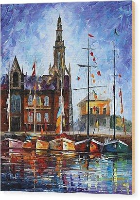 Antwerp - Belgium Wood Print by Leonid Afremov
