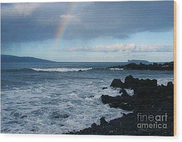 Anuenue - Rainbow Over  Alalakeiki Channel Kihei Maui Hawaii Wood Print by Sharon Mau