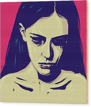 Anxiety Wood Print by Giuseppe Cristiano