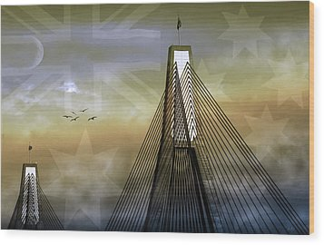 Wood Print featuring the photograph Anzac Bridge by Holly Kempe