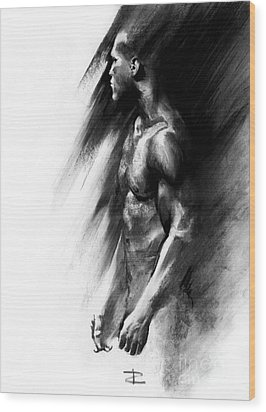 Wood Print featuring the drawing Apart by Paul Davenport