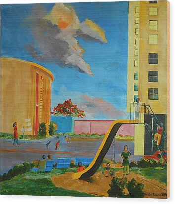 Apartment Living Wood Print by Geeta Biswas