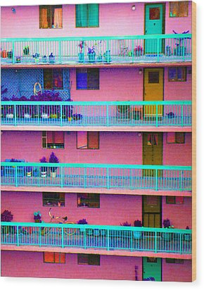 Apartments Wood Print by Laurie Tsemak
