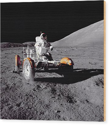 Apollo 17 Moon Rover Ride Wood Print by Movie Poster Prints