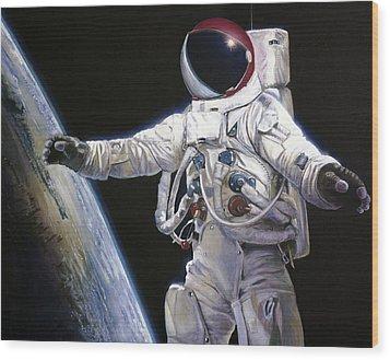 Apollo 9 - Schweickart On The Porch Wood Print by Simon Kregar