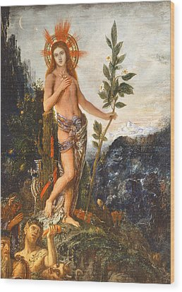 Apollo Receiving The Shepherds Offerings Wood Print by Gustave Moreau