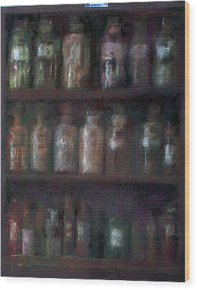 Apothecary Bottles Wood Print by Paez  Antonio