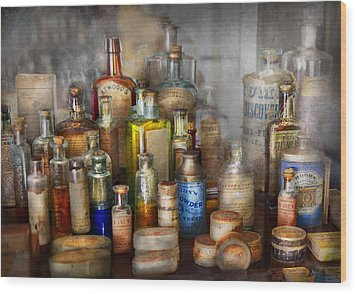 Apothecary - For All Your Aches And Pains  Wood Print by Mike Savad
