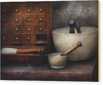 Apothecary - Pestle And Drawers Wood Print