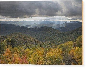 Appalachian Autumn North Carolina Fall Foliage Wood Print by Dave Allen