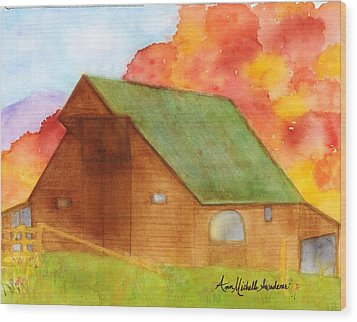 Appalachian Barn In Autumn Wood Print