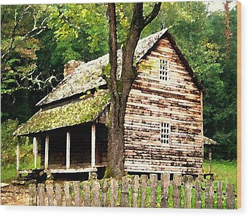 Appalachian Cabin Wood Print by Desiree Paquette