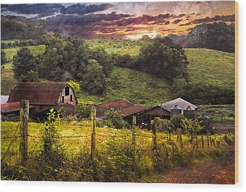 Appalachian Mountain Farm Wood Print by Debra and Dave Vanderlaan