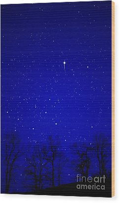 Appalachian Mountain Starry Night Wood Print by Thomas R Fletcher