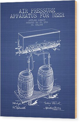 Apparatus For Beer Patent From 1900 - Blueprint Wood Print by Aged Pixel