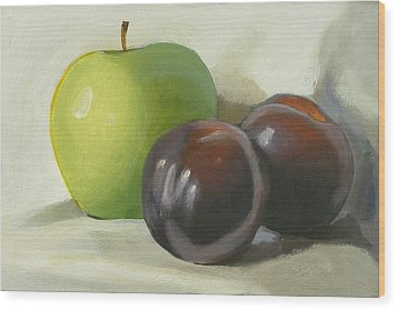 Apple And Plums Wood Print by Peter Orrock
