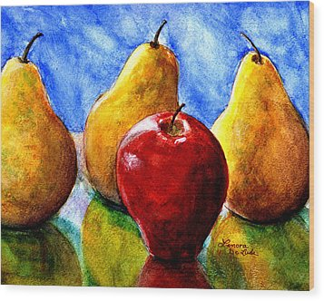 Wood Print featuring the painting Apple And Three Pears Still Life by Lenora  De Lude