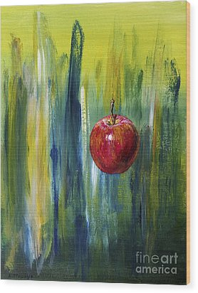 Wood Print featuring the painting Apple by Arturas Slapsys