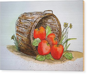 Apple Basket Wood Print by June Holwell