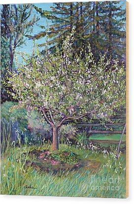Apple Blossoms And Spring Flowers Wood Print by Asha Carolyn Young