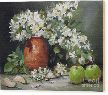 Wood Print featuring the painting Apple Blossoms by Carol Hart
