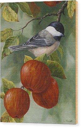 Apple Chickadee Greeting Card 2 Wood Print by Crista Forest