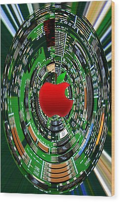 Apple Computer Abstract Wood Print by Sandi OReilly