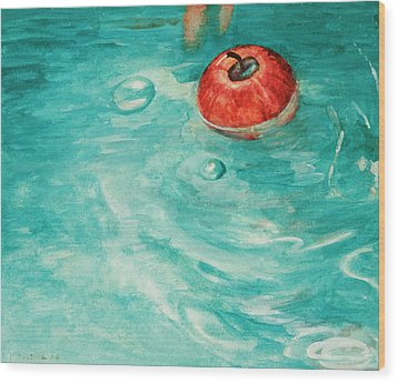 Apple In A Tub Wood Print