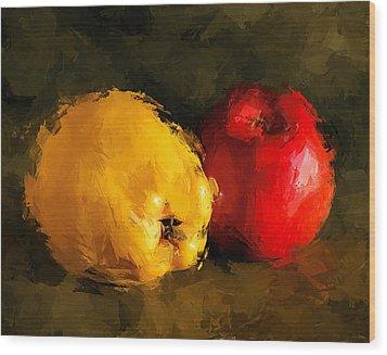 Apple Lemon Still Life Wood Print by Yury Malkov