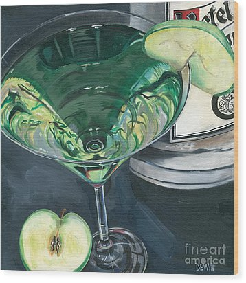 Apple Martini Wood Print by Debbie DeWitt