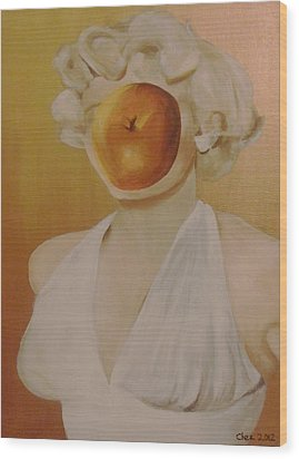 Wood Print featuring the painting Apple Of Her Eye by Cherise Foster